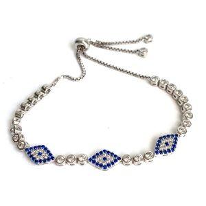 Sterling Silver Evil Eye Bracelet Dainty Sapphire